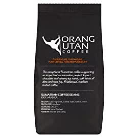 Indonesia Sumatra Orangutan Coffee Beans, 500g, Orang Utan Conservation Project, (Whole Bean, 500g)