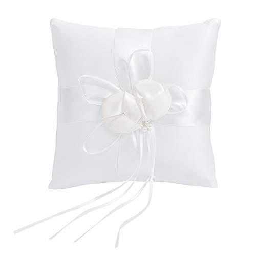 VORCOOL WINOMO 20x20cm schöne Blütenknospen Faux Perlen Dekor Braut Hochzeit Ceramony Tasche Ringkissen Kissenträger mit Bändern (weiß)