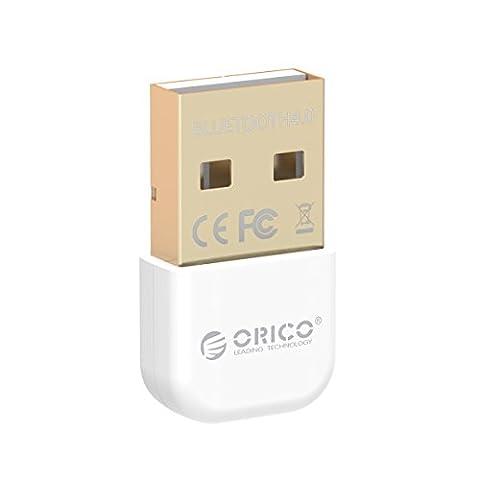 ORICO Adaptateur USB Bluetooth 4.0 Dongle, pour PC Ordinateur de bureau, Ordinateur portable, Mini Transmetteur récepteur pour Windows 8, 7, XP, 32 ou 64 bits (Blanc)