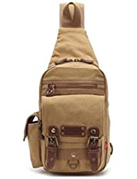 Banggood ELECTROPRIME Men's Canvas Crossbody Messenger Sling Bag Chest Bag For Travel Hiking Khaki