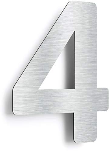 3 wetterfest /& pflegeleicht grob geschliffen 3D Hausnummer Edelstahl Au/ßenbereich geeignet mit Montagematerial