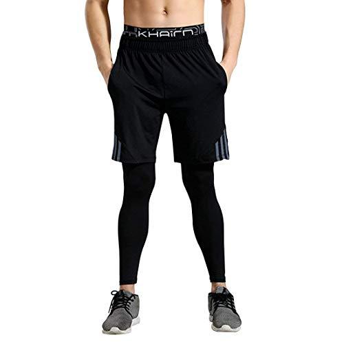 GWELL Herren Laufhose 2 in 1 Lang Sport Fitness Split Shorts Trainingshose schwarz, EU L (Tag XL)