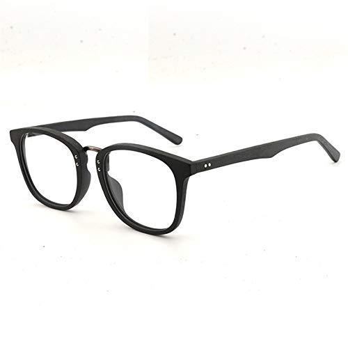 WULE-Sunglasses Unisex New Large Frame Holzrahmen Brillengestell Retro-Platte Brillengestell handgefertigte Mode flachen Rahmen (Color : Black Frame Black Legs)