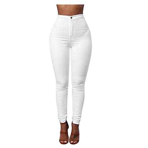 Rosennie Damen Jeans Hosen Mode High Waist Jeans Streetwear Denim Hose Casual Jeanshose Bleistift Leggings Hose Solid Frauen Freizeithosen -