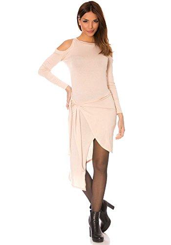 dmarkevous - Robe portefeuille beige, mi-longue, asymétrique et épaule nue. Robe Sexy Beige