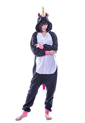 Einhorn Pyjamas Kostüm Jumpsuit Tier Schlafanzug Erwachsene (Einhorn Kostüm Frauen)