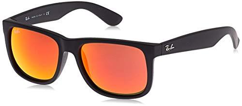 Ray-ban justin occhiali da sole unisex, nero (montatura: schwarz, lenti: rot verspiegelt 622/6q), 54 mm