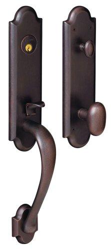 Baldwin 85354.412.ENTR Boulder 3/4-Inch Escutcheon Handleset Emergency Egress with Oval Knob, Distressed Venetian Bronze by Baldwin -