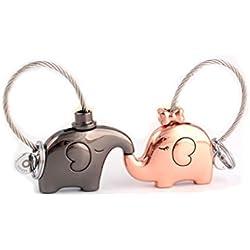 Hemore Couple Keychain Set de 2pcs Kissing éléphants Porte-clés Sac à Main Pendentif décoration pour Soeur, mère et Fille-Or Rose et Pistolet Noir