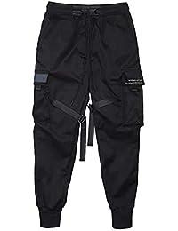 diirm Pantalones Cargo para Hombre Cintas Harem Joggers Pantalones de Hip Hop Harajuku Pantalones Deportivos