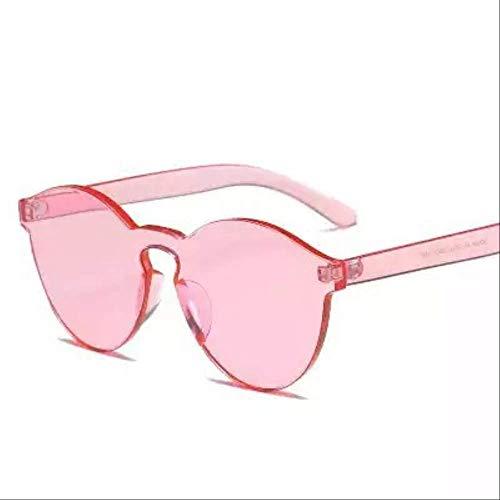 YKDDGG Damen Sonnenbrille Mode randlose Vintage Sonnenbrillen Frauen runden Spiegel gelb rosa Sommer transparente Schattierungen weibliche Brillen Sonnenbrillen sind aus hochwertigen Materialien für