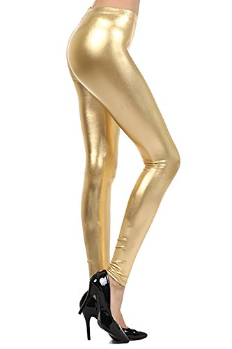 Crazy Girls Verrückte Mädchen Frauen Damen Metallic Glänzend Glanz Squad Kostüm Wet Look Leggings (S/M-EU36/38, Gold) (Gold Mädchen Leggings)