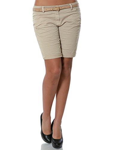 Damen Shorts Chino Kurze Hose inkl. Gürtel No 13908 Beige 38 / M -