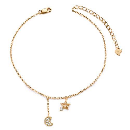 SHEGRACE Cavigliera da Donna con Ciondoli Stella e Luna Argento 925 e Pavé di Zirconi AAA Platino Oro Rosa e Oro Regolabile 22