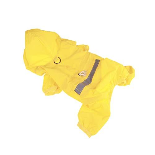 POPETPOP Hund Regenmantel Puppy Regenmantel mit Kapuze Reflektierende Wasserdichte Hundebekleidung Soft Breathable Haustier Katze Kleiner Hund Regenkleidung - Größe M (gelb)