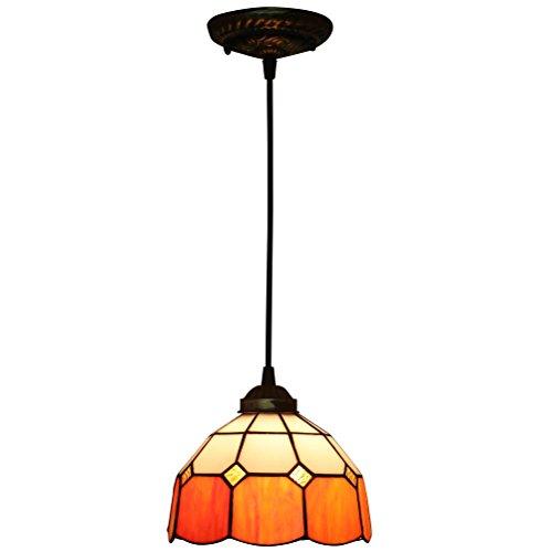 FABAKIRA Pendelleuchte Kronleuchter Stil 8 Zoll Tiffany Lampe Libelle rustikal Suspension Lampenschirm Glas dekorative Beleuchtung [Energieklasse A++]