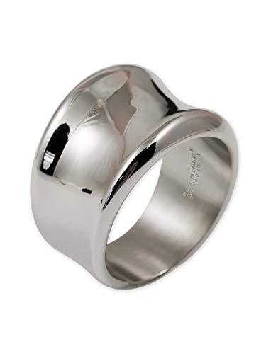 Fly Style Damen Ring aus Edelstahl | 17 mm breit | poliert, Ring Grösse:18.1 mm - Band-ringe Silber Breites