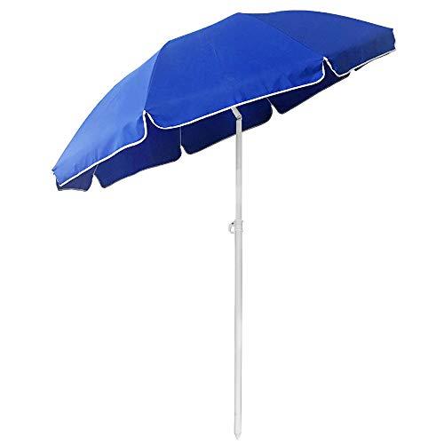 Froadp Rund Sonnenschirm 200 cm Marktschirm Gartenschirm Blau UV50+ Höhenverstellbar