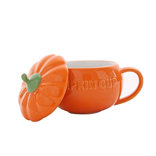 HUIJIA Halloween Kürbis Tasse Kreative Keramik Tasse Becher Hafermehl Tasse Süßes Frühstück Tasse Persönlichkeit Kaffeetasse-Großen Kürbis Tasse