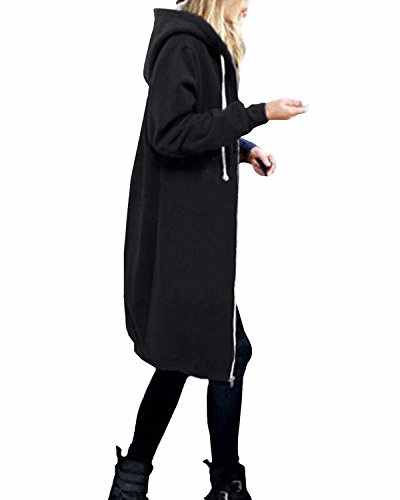 StyleDome Damen Langarm Kapuzen Sweater Warme Strickjacke Zip Jacket Oversized Lange Mantel Schwarz A 36