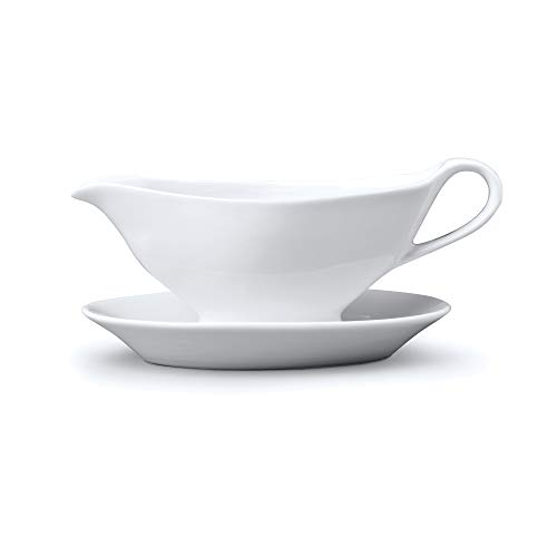 WM Bartleet & Sons 1750 T475 Porcelaine traditionnel Mini Saucière avec support/soucoupe 100 Ml-white, Blanc