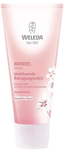WELEDA Mandel Wohltuende Reinigungsmilch, sanfte porentiefe Naturkosmetik Reinigung für sensible Haut im Gesicht, geeignet für Neurodermitiker und schonende Entfernung von Make-up (1 x 75 ml)