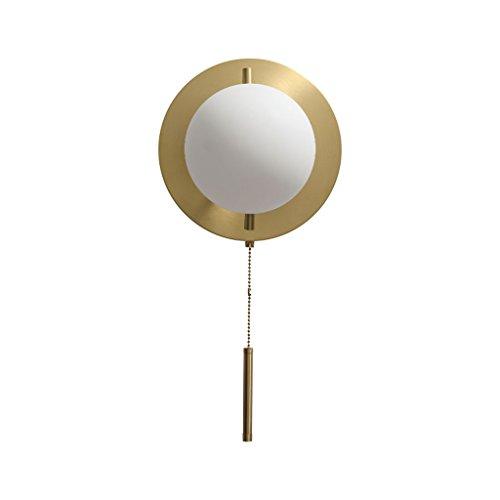 Unbekannt QIQIDEDIAN Wohnzimmer Wandleuchte Glaskugel einfache Kordelzug Schlafzimmer Nachttischlampe (Color : Brass) -
