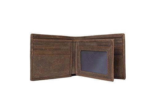 BAIGIO Herren Retro Geldbörse Geldbeutel Kreditkartentasche Hochformat Börse aus echtem Leder Taschen, Braun Braun