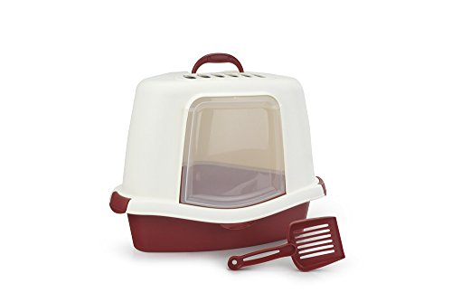 beeztees-cat-litter-pan-sprint-corner-plus-ivory-burgundy