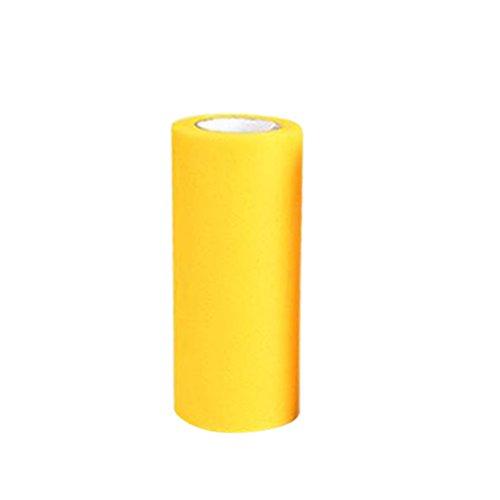 ULTNICE 5,9 Zoll x 25 Yards Tüll Band Hochzeit Party Spitzenband Tischband Tutu Rock Stoff Handwerk (Gelb) (Gelb Tisch Rock)
