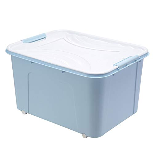 MAEKGX Caja de Almacenamiento apilable de Tres Colores de Varias capacidades, con una Tapa Que se Puede Empujar,Blue,80L