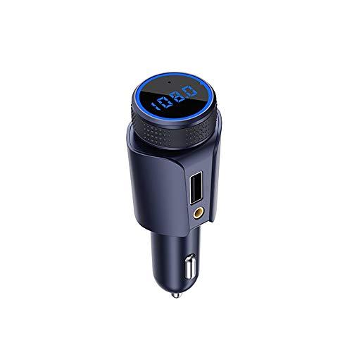 5.0FM Sender Zigarettenanzünder Car Kit, Blaue LED-Anzeige 2.1AUSB Schnellladeanschluss Unterstützung TF-Karte AUX, Freisprech-Sprachnavigation Musik Abspielen,Blue ()