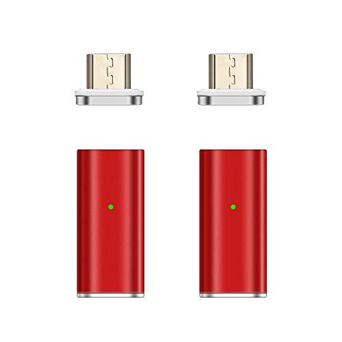 NetDot Gen10 Magnetisch Schnelllademikro Micro USB(weiblich) zu Micro USB(männlich) Adapter Konverter für Android Smartphones(2 Pack rot) (Zu Männlich Verwandeln Weiblich)
