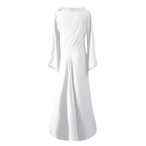 iHENGH Damen Frühling Sommer Rock Bequem Lässig Mode Kleider Frauen Röcke Langarm V-Ausschnitt Mittelalterlich Kleid Bodenlang Cosplay Kleid(Weiß, - Marilyn Monroe Roten Kleid Kostüm