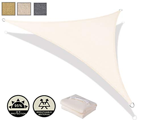 AXT SHADE Tenda a Vela Triangolare 4x4x5,65m, Traspirante e Protezione Raggi UV, per Esterni, Cortile, Giardino, Colore Crema