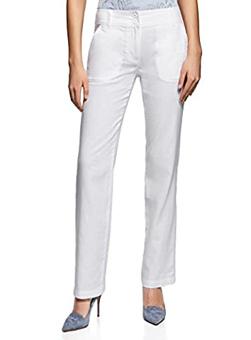 oodji Collection Women's Relaxed-Fit Linen Trousers, White, UK 14 / EU 44 / XL