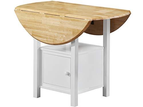Loft24 Esstisch weiß klappbar Esszimmertisch Klapptisch rund Küchentisch Stauraum Holz Bistro Küche Cafe natur