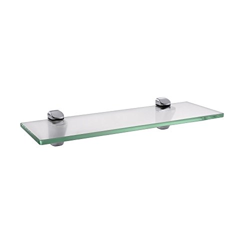 Kes mensola in vetro da bagno con fondo in vetro e asta vetro temperato 350 x 118 mm cromato, bgs3202s35