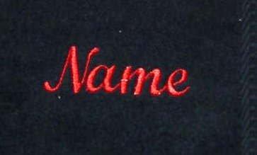 S.B.J - Sportland schwarzes Gästetuch aus Frottee mit roter Namensbestickung/Bestickt mit Namen oder Wunschtext, 30x50 cm, 450 Gramm Qualität, 100% Baumwolle, Auswahl