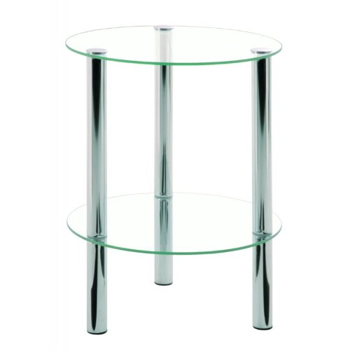 Haku Möbel 90243 Table Basse d'Appoint Tube d'Acier/Verre Trempé Chromé H 47 cm, Ø 35 c