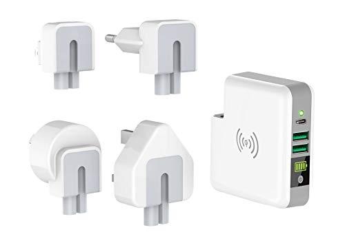Smrter Wireless Qi (5W) Powerbank als Netzteil, 6700 mAh, Zertifiziert, 2X USB-Ausgang (2.4A), 1x USB-C (3A) (mit Reiseadapter)