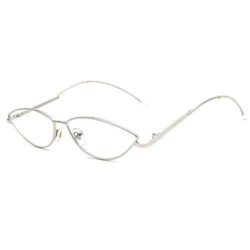 Transparente Steampunk Ovale Sonnenbrille Katzenaugen Für Unisex Metall Rahmen Vintage Schlanke Sonnenbrille Kleiner Rahmen Spiegel (Spiegel Oval Elfenbein)