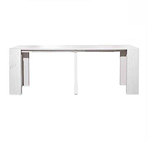 InHouse srls Table Console Blanc Pore Ouvert avec 5 rallonges DE 50 cm, Style Moderne, en MDF laminé et Structure en Aluminium - Dim. 45 x 90 x 75
