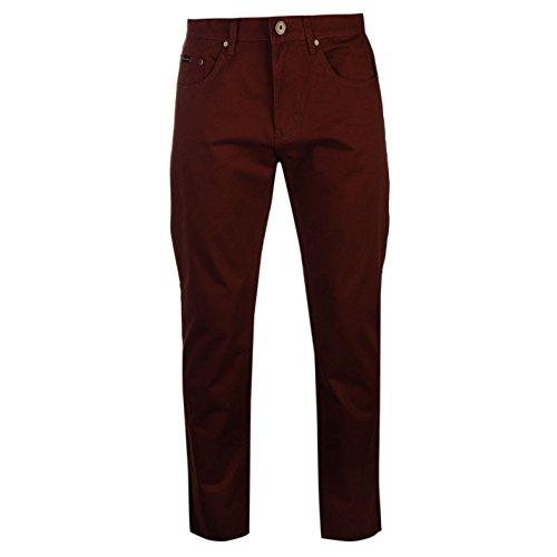 Pierre Cardin-Pantaloni 5Tasche Chino pantaloni Chino il tempo libero Plastica da uomo cotone bordeaux W30
