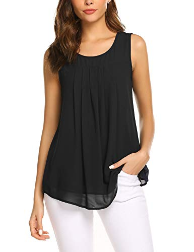 Parabler Frauen Ärmellose Chiffon top Sleeveless Solide Weste Bluse Tank Tops Kleidung Sommerbluse (Schwarz, EU 40/L) - Tanks Bluse