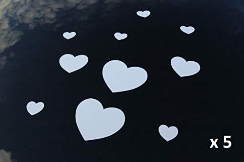 HERZAUFKLEBER Aufkleber Hochzeit Herze Autoschmuck Auto (weiße Herzen x 5) - 5 Herz