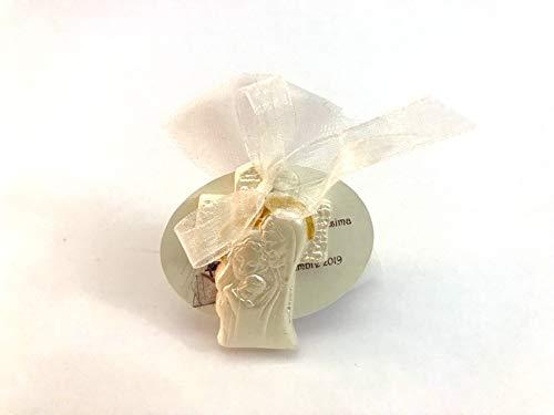 10 pz. bomboniere battesimo cresima comunione confezionata completa di confetti e tulle