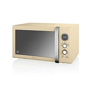 Swan SM22085CN Retro Digital Microwave, 25 Litres, 900 Watts, Cream