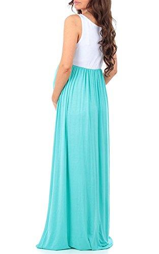 LANOMI Damen Umstandskleid Mutterschaft Umstandsmode Lange Maxikleid Sommerkleid Schwangerschafts Kleid Ärmellos Stillkleid (Grün) - 4