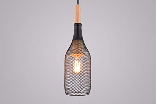 Pendelleuchte Ada II Schwarz Metall Draht Geflecht Holz Natur Design Holzlampe Metall Hängeleuchte
